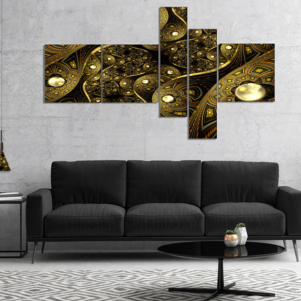 Designart Brown Metallic Fabric Pattern MultipanelAbstract Print On Canvas - 4 Panels