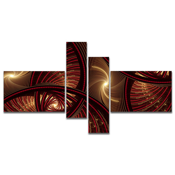 Designart Brown Symmetrical Fractal Pattern Multipanel Floral Canvas Art Print - 4 Panels