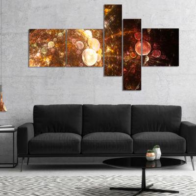 Designart Brown World Bubbles Water Drops Multipanel Floral Canvas Art Print - 5 Panels