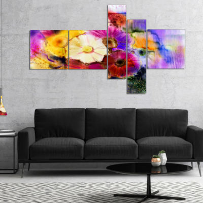 Designart Bunch Of Colored Daisy Flowers Multipanel Floral Canvas Art Print - 5 Panels