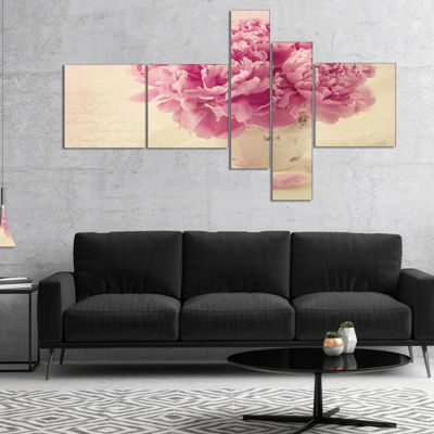 Designart Bunch Of Peony Flowers On Table Multipanel Floral Canvas Art Print - 5 Panels