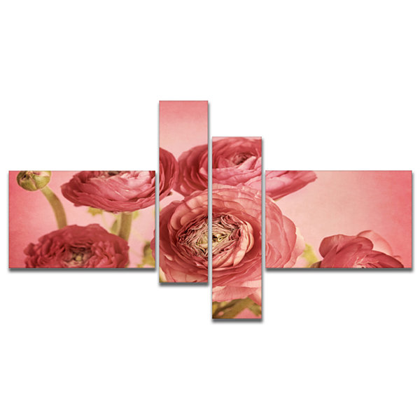 Designart Bunch Of Ranunculus Flowers On Pink Multipanel Floral Canvas Art Print - 4 Panels