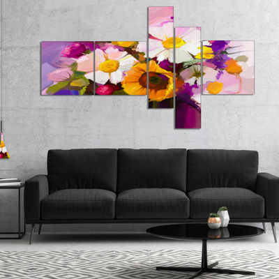 Designart Bunch Of White Red Yellow Flowers Multipanel Floral Canvas Art Print - 5 Panels