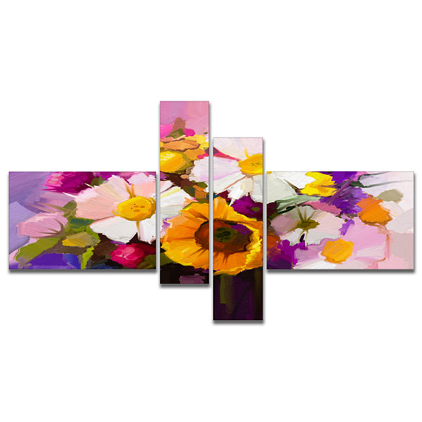 Designart Bunch Of White Red Yellow Flowers Multipanel Large Floral Canvas Art Print - 4 Panels