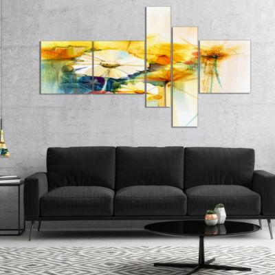 Designart Bunch Of White Yellow Flowers Multiplanel Floral Canvas Art Print - 5 Panels