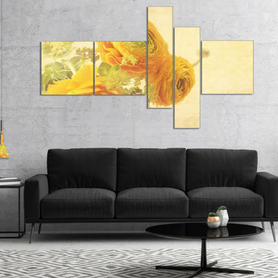 Designart Bunch Of Yellow Ranunculus Flowers Multipanel Floral Canvas Art Print - 5 Panels