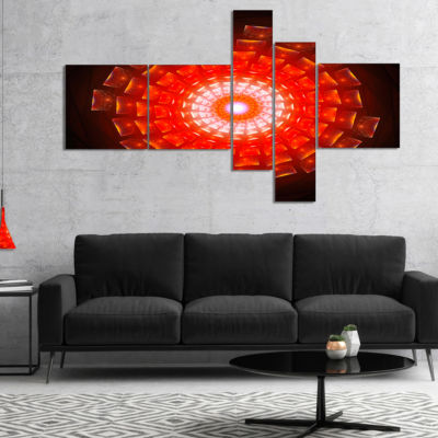 Designart Circular Vortex Broken Particles Multipanel Floral Canvas Art Print - 5 Panels