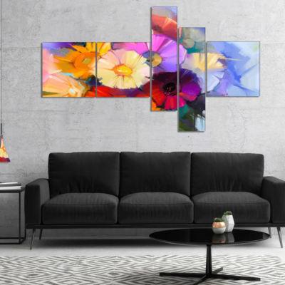 Designart Colored Gerbera Flowers Bouquet Multipanel Floral Canvas Art Print - 5 Panels