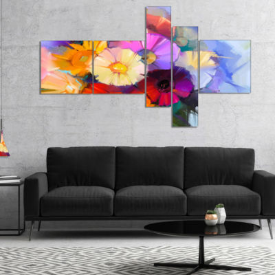 Designart Colored Gerbera Flowers Bouquet Multipanel Large Floral Canvas Art Print - 4 Panels
