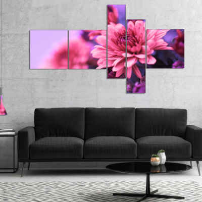 Designart Colorful Autumnal Chrysanthemum Multipanel Floral Canvas Art Print - 5 Panels