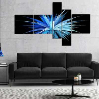 Designart Colorful Blue Fountain Of Crystals Multipanel Floral Canvas Art Print - 4 Panels