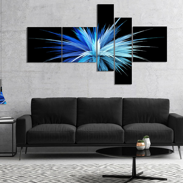 Designart Colorful Blue Fountain Of Crystals Multipanel Floral Canvas Art Print - 5 Panels