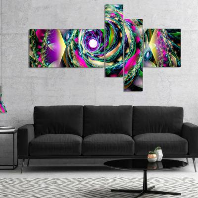 Designart Colorful Exotic Whirlpool Flower Multipanel Floral Canvas Art Print - 5 Panels