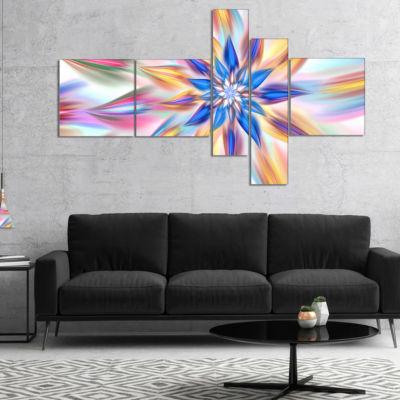 Designart Exotic Dance Of Multi Color Petals Multipanel Floral Canvas Art Print - 5 Panels