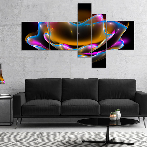 Designart Colorful Fractal Flower In Dark Multipanel Floral Canvas Art Print - 5 Panels
