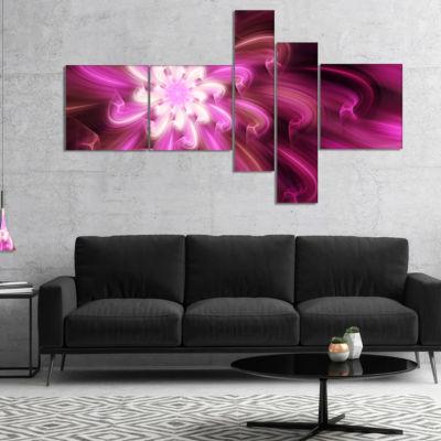 Designart Exotic Dance Of Purple Flower Petals Multipanel Floral Canvas Art Print - 5 Panels