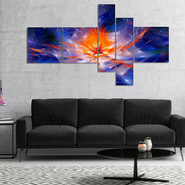 Designart Colorful Glowing Space Flower Fractal Multipanel Extra Large Floral Wall Art - 5 Panels
