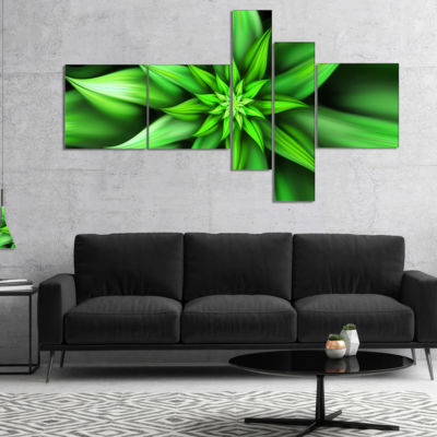 Designart Exotic Green Flower Petals Multipanel Floral Canvas Art Print - 5 Panels