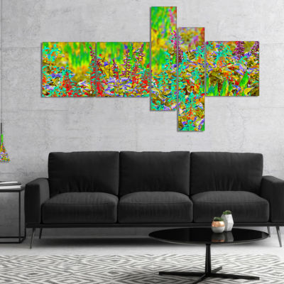Designart Colorful Textured Flowerbed MultiplanelFloral Art Canvas Print - 4 Panels