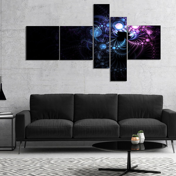 Designart Colorful Thorny Pattern In Dark Multipanel Floral Art Canvas Print - 4 Panels