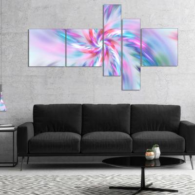 Designart Exotic Light Blue Flower Petal Dance Multipanel Floral Canvas Art Print - 5 Panels