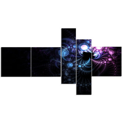 Designart Colorful Thorny Pattern In Dark Multipanel Floral Art Canvas Print - 5 Panels