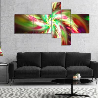 Designart Exotic Multi Color Flower Petal Dance Multipanel Floral Canvas Art Print - 5 Panels