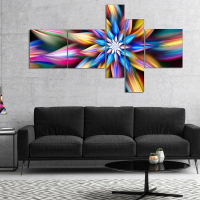 Designart Exotic Multi Color Flower Petals Multipanel Floral Canvas Art Print - 4 Panels