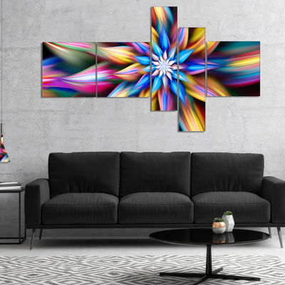 Designart Exotic Multi Color Flower Petals Multipanel Floral Canvas Art Print - 5 Panels