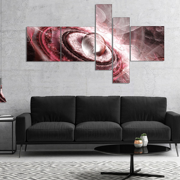 Designart Crystal Rotating Flying Saucer Multipanel Floral Canvas Art Print - 5 Panels