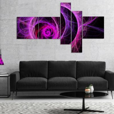 Designart Exotic Pink Flower Multipanel Floral ArtCanvas Print - 4 Panels