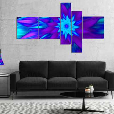 Designart Dance Of Blue Flower Petals Multipanel Floral Canvas Art Print - 5 Panels