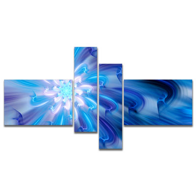 Designart Dance Of Blue Fractal Flower Petals Multipanel Floral Canvas Art Print - 4 Panels