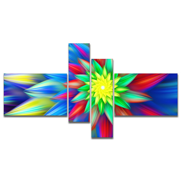 Designart Dance Of Bright Multi Color Flower Multipanel Floral Canvas Art Print - 4 Panels