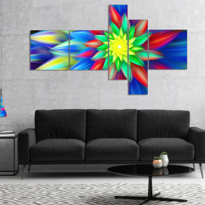 Designart Dance Of Bright Multi Color Flower Multipanel Floral Canvas Art Print - 5 Panels