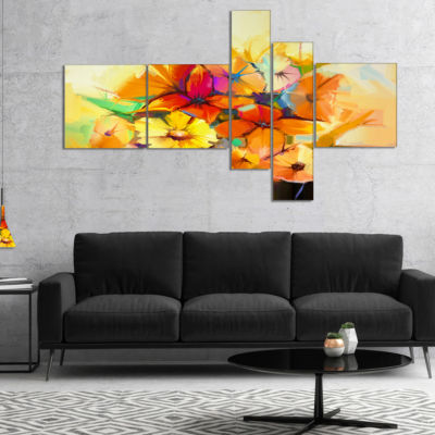 Designart Fantastic Colorful Gerbera Flowers Multipanel Large Floral Canvas Art Print - 4 Panels
