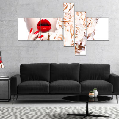 Designart Fashion Sexy Woman With Flowers Multipanel Sensual Canvas Art Print - 4 Panels