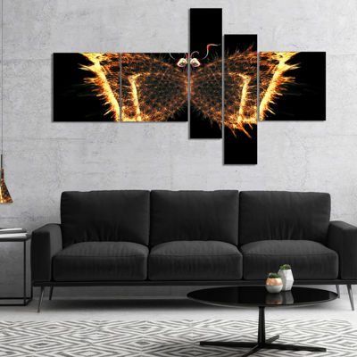 Designart Fire Fractal Butterfly In Dark Multipanel Abstract Canvas Art Print - 5 Panels