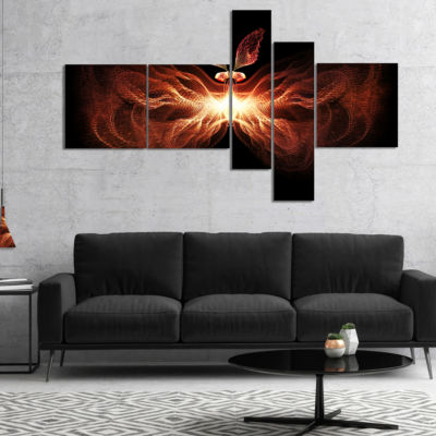 Designart Fire In Middle Fractal Butterfly Multipanel Abstract Canvas Art Print - 5 Panels