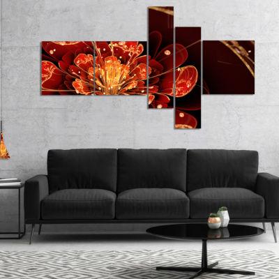 Designart Flower With Red Golden Petals Multiplanel Floral Art Canvas Print - 4 Panels