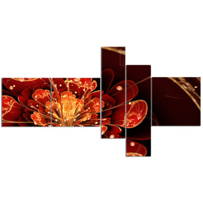 Designart Flower With Red Golden Petals MultipanelFloral Art Canvas Print - 5 Panels