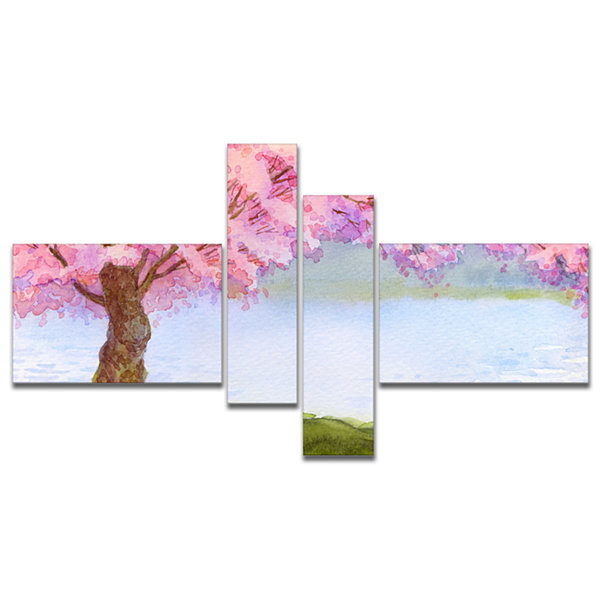 Designart Flowering Pink Tree By Lake MultiplanelFloral Art Canvas Print - 4 Panels