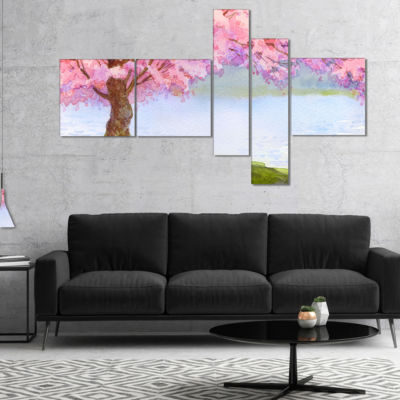 Designart Flowering Pink Tree By Lake Multipanel Floral Art Canvas Print - 4 Panels