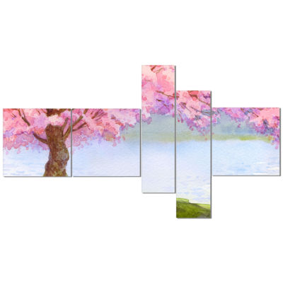 Designart Flowering Pink Tree By Lake Multipanel Floral Art Canvas Print - 5 Panels