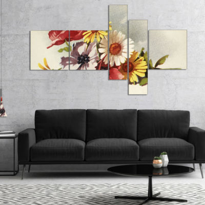 Designart Flowers Illustration Multipanel FloralCanvas Wall Art - 5 Panels