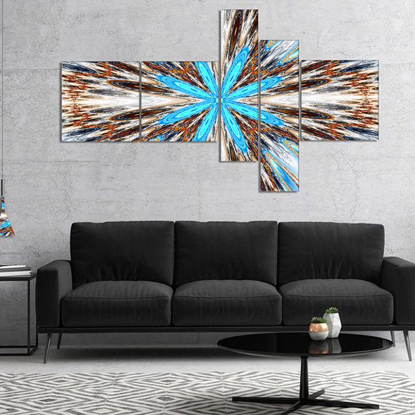 Designart Flowers With Radiating Rays Multipanel Abstract Canvas Art Print - 4 Panels