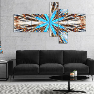 Designart Flowers With Radiating Rays Multipanel Abstract Canvas Art Print - 5 Panels