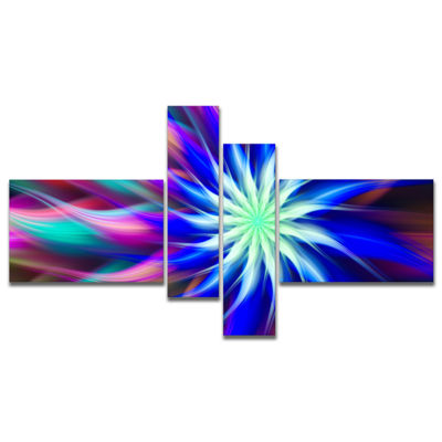 Designart Dance Of Bright Spiral Blue Flower Multipanel Floral Canvas Art Print - 4 Panels