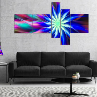 Designart Dance Of Bright Spiral Blue Flower Multipanel Floral Canvas Art Print - 5 Panels