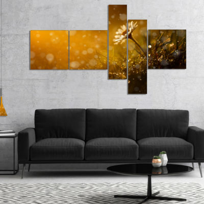 Designart Forest After Rain During Sunset Multipanel Floral Canvas Art Print - 5 Panels